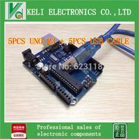 Free Shipping  5PCS/LOT  Brand New  UNO R3 MEGA328P ATMEGA16U2 1UNO R3 + 1 USB Cable