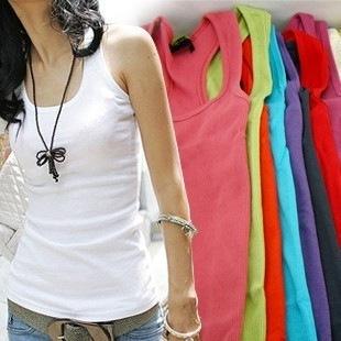 New  Hotsale 2013  Women  Summer hot-selling woven cotton rib knitting women's tank Tops long designs