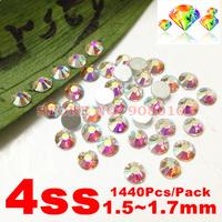 1440pcs/Lot, ss4 (1.5-1.7mm) Crystal AB Flat Back Nail Art Glue On Non Hotfix 2028 Rhinestones Free Shipping