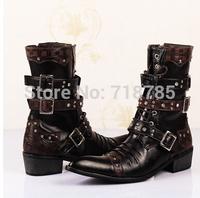 COOL ! British PUNK Style Men Boots Rivets High Super-fibre Leather ZIP Rubber Pointed toe  Men's Boots Black 38 - 44  Best Gift