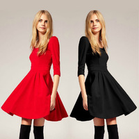 2013 New Women's O Neck Three Quarter Sleeve Back Cut Out Cotton knitted Dress A Line Autumn Dress