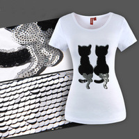 2013 newest style black lovers cats short sleeve women's cotton t-shirt big size S-3XL t shirts for woman K0051 Free shipping