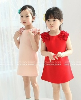 free shipping 1lot=5pcs 2013 baby girls dress flower red pink summer girl dress children dresses  kids clothing children wear