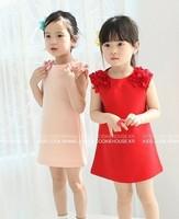 free shipping 1lot=5pcs 2013 baby girls dress flower red pink summer girl dress children dresses  kids clothing children wear