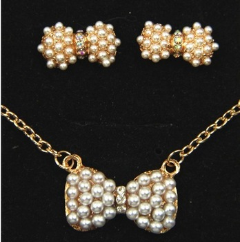 Ocean jewelry store fashion Pearl bow jewelry sets E89 x119 ( free shipping $10 )