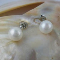MOQ 6USD Free Shipping 8-9mm Pearl Earring 925 Silver Stud
