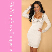 Autumn winter hot sale plus size sexy fashion women clothing White Studded Long Sleeves Party Formal mini dress vestidos 2613