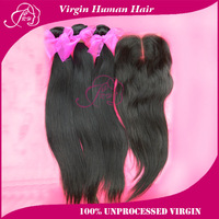 "Queen:Natural Straight Peruvian Virgin Hair 1 Piece Lace Top Closure With 3pcs Hair Bundle 100% Human Hair 12""-30"" Free shipping"