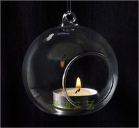 free shipping 2013 Popular decoration Suspensibility crystal glass candlestick romantic household glass candle holder