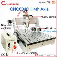 (1.5kw spindle 2.2kw VFD +4th aixs) CNC 6040 + tailstock (four aixs, A aixs, rotation axis) CNC Router/ CNC engraving machine