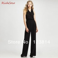 Free Shipping Jumpsuit Women Elegant Slim Belt Designed Sleeveless High Waist V-Neck Chiffon Long Pant Rompers Overall D001
