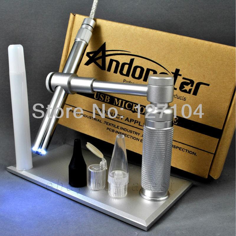 Usb microscope numérique 2mp andonstar 500x 8 conduit microscope usb caméra vidéo usb loupe. microscopie électronique stand