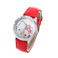 10pcs/lot Women Hello Kitty Watches Alloy PU Band Quartz Wristwatches Analog Glass Fashion Watch New 2014 Hot Promotions LJX05