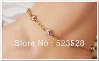 Free Shipping! Fashion  Foot Jewellery , 2013 New Style Tatinium Steel Anklet with Rose Gold Plated, Ankle Bracelet.