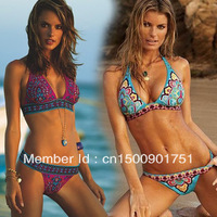 Europe three - point bikini print bikini swimwear split