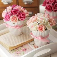 Free shipping Artificial flower vase rose bonsai home decoration artificial flower gift decoration flower