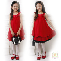 2014 New spot retail lined cotton Pleated Chiffon girl wearing 3 ~ 7Age Princess Rose dress children clothing free shipping