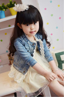 new 2013 spring baby girls fashion lace denim jacket / coat children outwear clothes