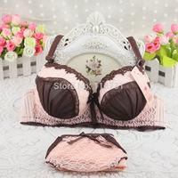 2014 Free shipping sexy Bra solid color three-row back buckle bra set  underwear set