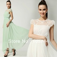Free shipping NEW hot-selling lady lace chiffon long dress high quality bohemia dress S,M,L,XL,white green dress plus size 80291