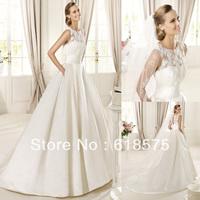 Free Shipping 2013 Winter Crew Tulle Lace Chapel Train Cheap Satin Wedding Dress Bridal Gowns Dalia