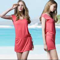 [C-408] solid Bikini dress, holiday Beach skirt casual dress free shipping swimwear women summer dresses