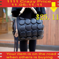 2014 new decorative buttons Kito bag tassel handbag channel is school organizer the embroidry wholle black red wedding dress