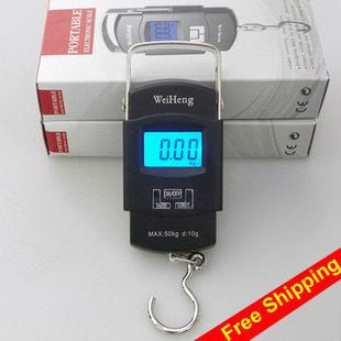 Digital Luggage Scale Portable 50KG/5g Backlight Wide Handle Hook Scale KG LB OZ(China (Mainland))