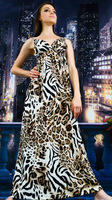 Free Shipping 1 piece/lot Good Quality New Fashion Sexy Design Leopard Pattern Floor Length Women Dress Big Size M L XL D001