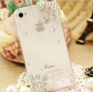 new arrival bling designer cute flower luxury daimond case for iphone 5s 5 4s 4 3D case 1pcs opp package 2 color free ship(China (Mainland))