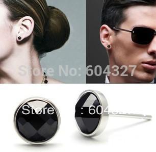 Бесплатная доставка -- новый черный агат серебряные серьги, 925 изысканные серьги ювелирные изделия для мужчин GNE0367