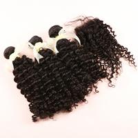 Juliet Virgin Hair 3pcs Malaysian Virgin Curly Hair With 1pc Curly Lace Closure,100% Human Hair Free Shipping Hair Weaving