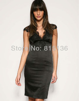 2014 new black sexy skirt V neck Sleeveless lace dresses fashion dropship wholesalers lace silk dress