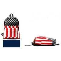 Hot Canvas US USA Flag Punk BackPack Shoulder GYM Bag Duffle School Free shipping