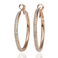 Wholesale Fashion Jewelry 18K Rose Gold Plating Earring High Quality Rhinestone Crystal Big Earrings Free Shipping 18KGP E085