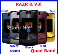 Free Shipping razr&V3i 100% Original Unlocked Phone 10 Colors (have Russian language Original English/Russian keyboard