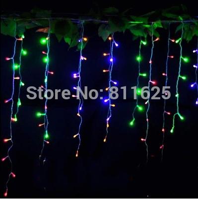 EU /UK/AU Plug 3.5M 96 LED Icicle Christmas Holiday Light Wedding Party garden Xmas Decoration 9.4ft LED Snowing curtain light(China (Mainland))