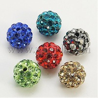 Polymer Clay Rhinestone Beads,  Grade A,  Round,  PP15,  Mixed Color,  10mm,  Hole: 1.8~2mm