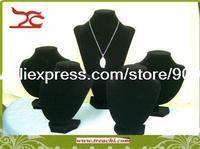 Black Velvet Mannequin Window Display Showcase 5 Necklace Stand Bust Holder 35cm, 21cm, 18cm