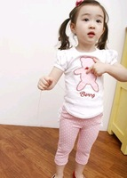 Free shipping girls clothing sets kids clothes suit short sleeve T-shirt+lace ruffle pants 5sets/lot