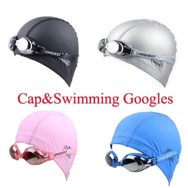 Promotion!! one Swimming Goggles + one Swimming Cap in one package goggles Waterproof And UV Resistance,PU swimming cap(China (Mainland))