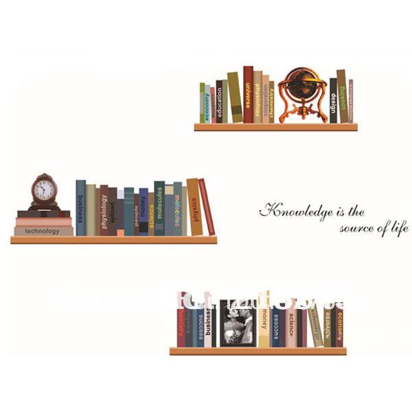 [Saturday Mall] - removable art creative bookshelves living room study decorative wall stickers wall murals wall book shelf 6183(China (Mainland))
