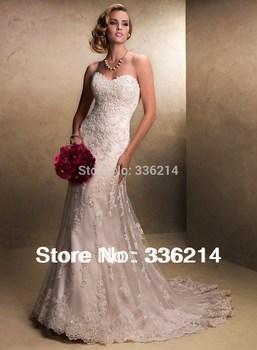 Новый белый / кружева цвета слоновой кости свадебное платье на заказ размер 2-4-6-8-10-12-14-16-18-20-22 + + + + +