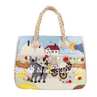TB New 2013 Cute Little Donkey Pattern PU Leather Women Handbags Designers Brand Female Color Block Shoulder Tote Bags Bolsas