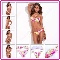 New RELLECIGA Sexy Floral Print Bandeau Bikini Set Swimsuit Brazilian Swimwear Bathing Suit Mild Push-up Free Shipping