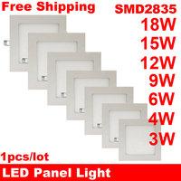 Free Shipping!New Ultra Thin LED Panel Light Square SMD2835 110V 220V 3W 4W 6W 9W 12W 15W 18W Led Ceiling Recessed Grid Lamp
