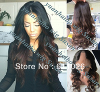 """hot best quality cheap price 18"""" #1b/4 ombre two tone loose wavy brazilian virgin hair u part lace wigs free shipping"""
