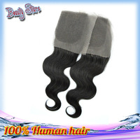 "Queen Hair Products Unprocessed Virgin Brazilian Lace Closure Body Wave(4""*4"") 10--24 Inch Natural Color Hair"
