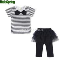 Kids girls clothes summer wear Short sleeve suit Children clothing sets t shirt+cropped pants Little Spring GLZ-T0241