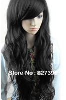Free shipping Fashion synthetic hair wigs Long curly Big wave Black, Dark and Light brown color